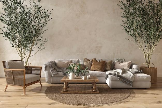 Interni soggiorno in stile fattoria scandinavo con mobili in legno 3d rendering illustrazione