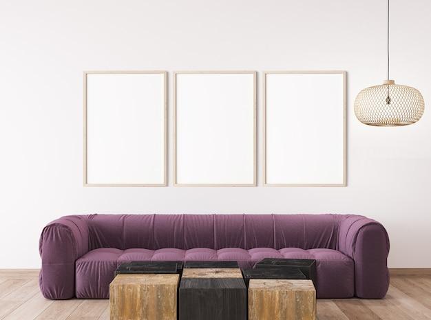 Design scandinavo del soggiorno, mockup del telaio in un design interno luminoso