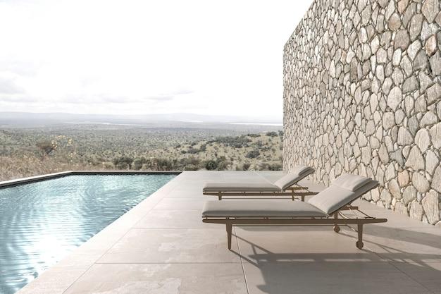 Terrazza esterna dal design moderno scandinavo con sedie a sdraio 3d rendering illustrazione