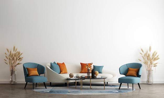 Soggiorno in stile scandinavo con divano e tavolino da tè. design minimalista del soggiorno e priorità bassa bianca vuota della parete, illustrazione 3d
