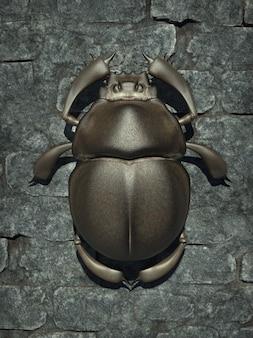Lo scarabeo è un simbolo del sole e della rinascita. illustrazione 3d