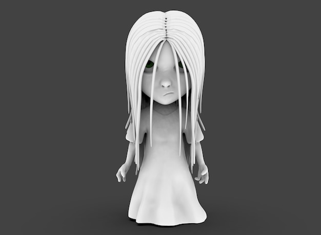Spaventoso personaggio dei cartoni animati horror ragazza con i capelli neri 3d-rendering.