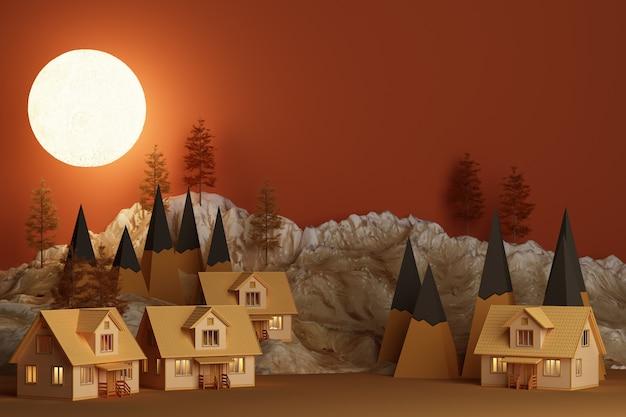 Casa spaventosa sugli alberi della collina e sul concetto della luna piena della rappresentazione arancio di tono 3d di halloween