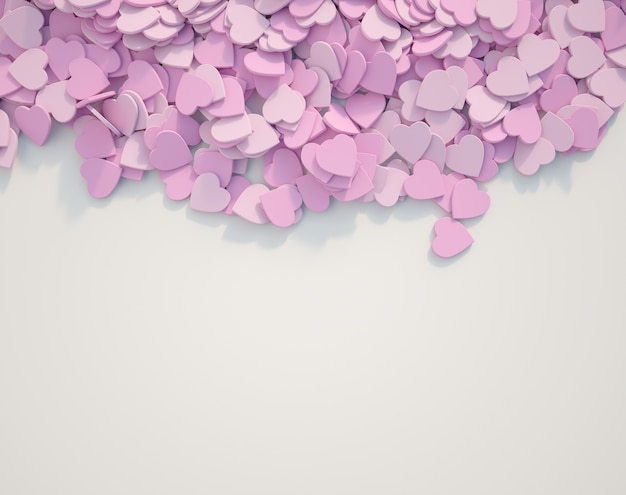 Cuori rosa sparsi su una superficie bianca
