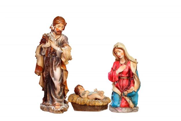 Scena della natività: maria, giuseppe e gesù bambino