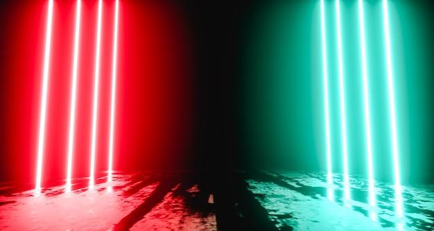 Scena per la presentazione del prodotto. fondo astratto al neon futuristico moderno. rendering 3d