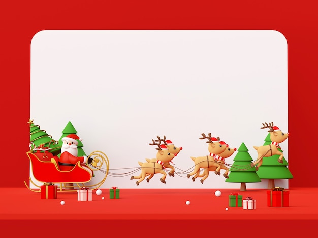 Scena di babbo natale su una slitta piena di regali di natale rendering 3d