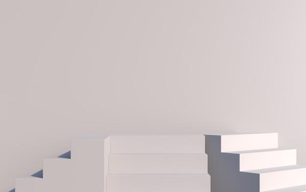 Scena con scale 3d per la dimostrazione del prodotto in grigio, rendering 3d