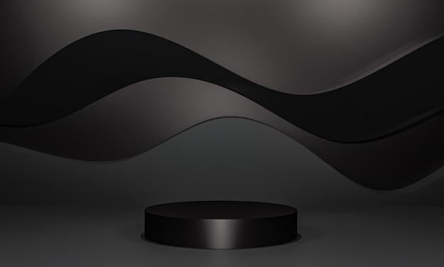 Scena con podio di colore nero per la presentazione di simulazione in stile minimalista con spazio di copia, rendering 3d sfondo astratto