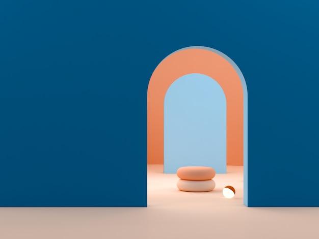 Scena con forme geometriche nei colori blu e arancio.