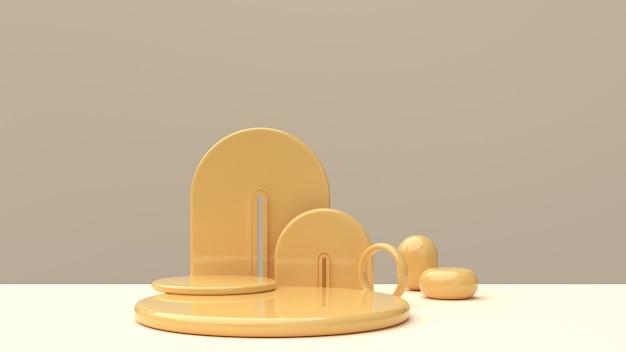 Scena con forme geometriche lucide nei toni dello champagne per l'esposizione del prodotto