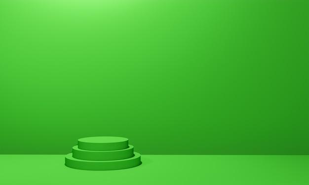 Scena con podio di colore verde per simulazione di presentazione in stile minimalista con spazio di copia, rendering 3d sfondo astratto