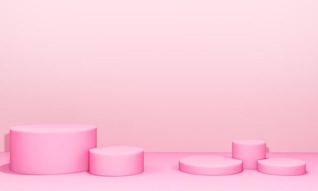 Scena con podio di colore rosa per simulazione di presentazione in stile minimalista con spazio di copia, rendering 3d sfondo astratto
