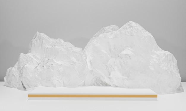 La scena con il podio per la presentazione in stile minimale 3d rende il disegno astratto del fondo