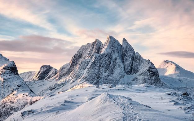 Scenario della maestosa montagna di neve