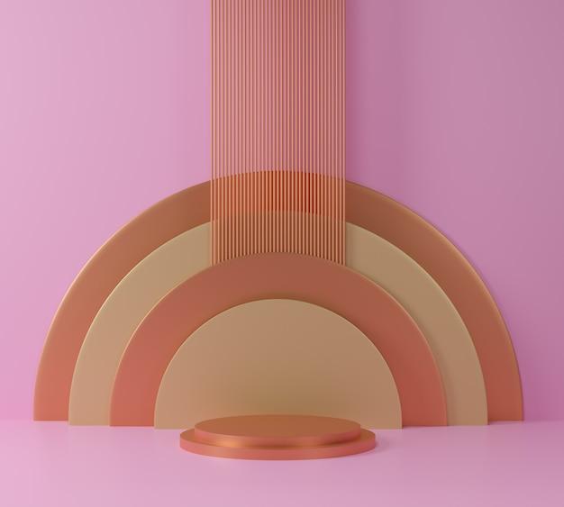 Scene con scene di podio d'oro in rosa e oro.
