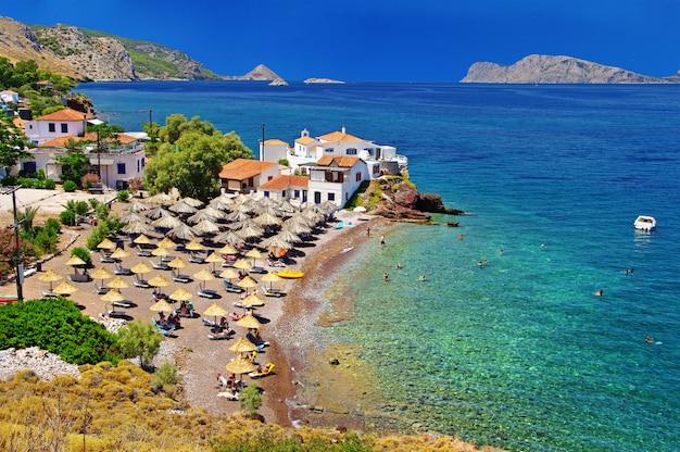 Spiagge panoramiche della grecia - isola di hydra, golfo saronico