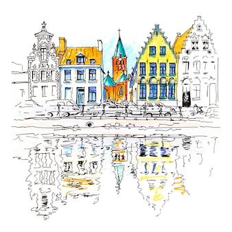 Vista panoramica sulla città del canale di bruges con belle case