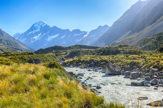 Vista panoramica di aoraki mount cook national park, nuova zelanda