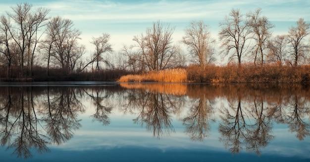 Vista panoramica con riflesso sul lago. stagno calmo al mattino presto