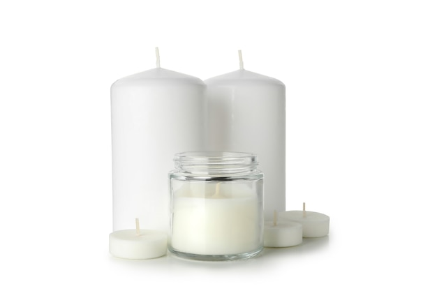 Candele profumate per relax isolate su bianco