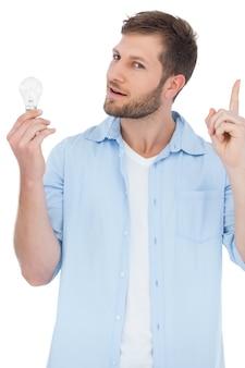 Modello scettico che tiene una lampadina e che ottiene l'idea