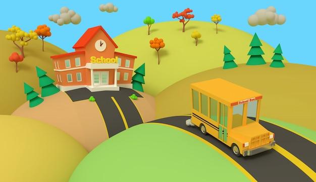 L'edificio scolastico ed il bus giallo con il bello paesaggio di autunno, di nuovo alla scuola, 3d rendono