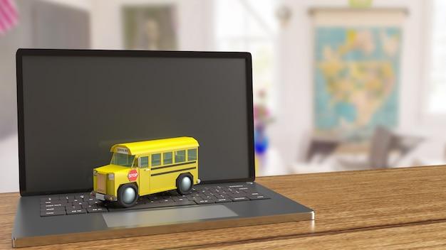 Lo scuolabus sul computer portatile per il rendering 3d del concetto di e-learning