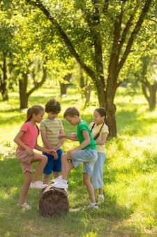 I bambini della scuola si avvicinano al ceppo nel parco verde