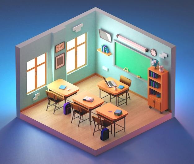 Aula scolastica isometrica. illustrazione 3d