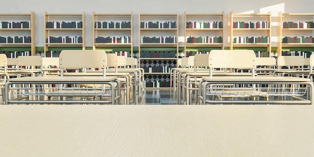 Aula scolastica con primo piano del tavolo dell'insegnante vuoto e scrivanie in superficie