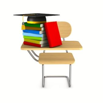 Banco di scuola, sedia e pila di libri su sfondo bianco. illustrazione 3d isolata