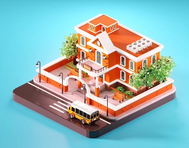 Composizione isometrica della scuola compreso lo scuolabus. illustrazione 3d