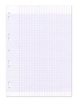 Struttura del foglio di carta a righe di scuola.
