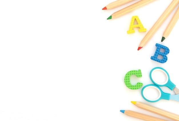 Forniture per ufficio e scuola su sfondo bianco