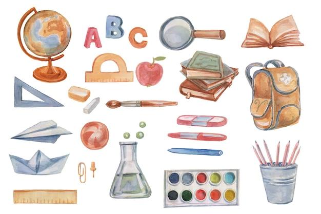 Materiale scolastico scuola set clipart acquerello a mano