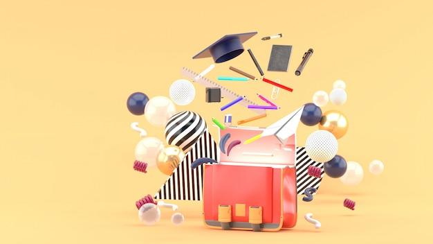 Materiale scolastico galleggiante da una borsa di scuola in mezzo a palline colorate su arancione. rendering 3d