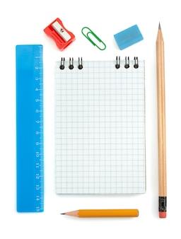 Materiale scolastico isolato