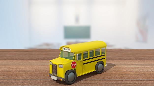 Lo scuolabus sul tavolo di legno in aula per il ritorno a scuola o il concetto di istruzione 3d rendering