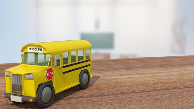 Lo scuolabus sul tavolo di legno in classe per il ritorno a scuola o il concetto di istruzione 3d rendering