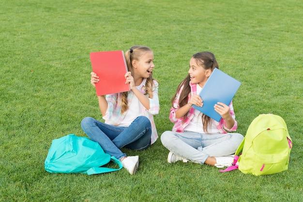 Scolarette cortile della scuola dei bambini con libri, concetto di educazione informale.