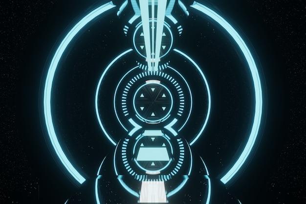 Sci fi futuristico blu incandescente al neon tunnel corridoio corridoio porta astronave aliena sfondo 3d rendering