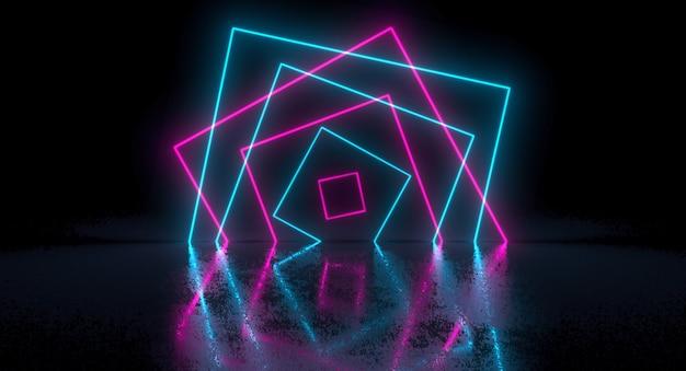 Sci-fi futuristico caotico astratto gradiente blu rosa al neon incandescente rettangolo quadrato sulla riflessione