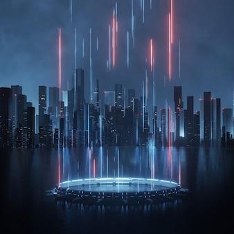 Piedistallo di fantascienza con luci a led incandescenti e sfondo della città