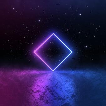 Luce al neon blu rosa sci fi, paesaggio cosmico