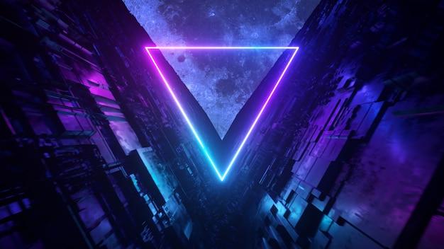 Tunnel di fantascienza con triangoli al neon. un volo senza fine verso la luna