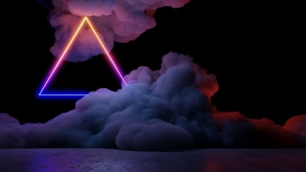 Rendering 3d di stile cyberpunk di paesaggio di realtà virtuale di fantascienza, universo di fantasia e priorità bassa della nuvola di spazio