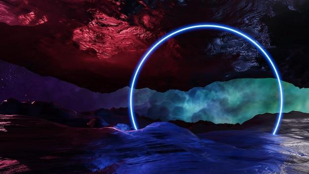 Rendering 3d di stile cyberpunk di paesaggio di realtà virtuale di fantascienza, universo di fantasia e fondo della nuvola di spazio