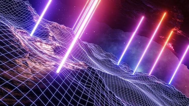 Rendering 3d di stile cyberpunk di paesaggio di realtà virtuale di fantascienza