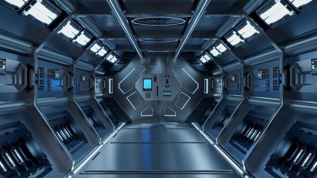 Sfondo di fantascienza interni rendering fantascienza astronave corridoi luce blu, rendering 3d